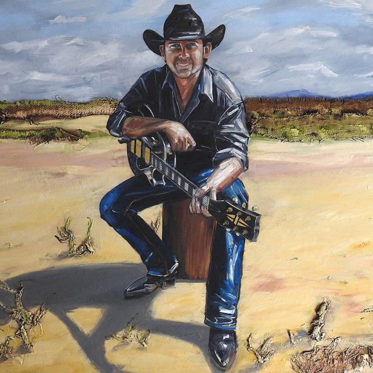 (Portraits)-Lee-kernaghan---oil-on-wool-bale-&-board