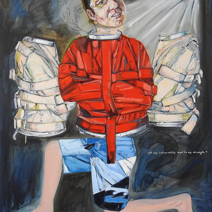 _(Portraits)-Straight-jacket-series---Self-portrait---Life's-tight-rope--oil--on-linen--1525-x-1225-mm