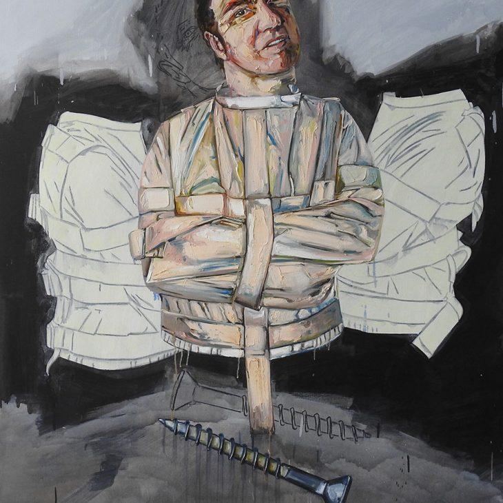 (-Portraits)-Straight-jacket-series---Self-portrait---Screwed---oil-on-linen-1525-x-1225-mm
